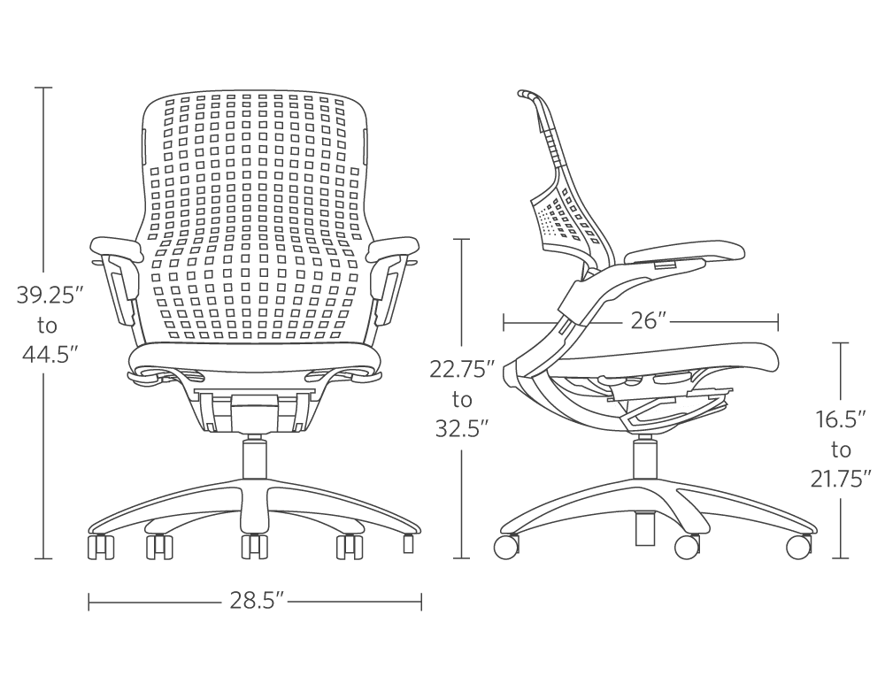 """overall height range 39.25"""" to 44.5"""" seat depth 26"""" overall width 28.5"""""""