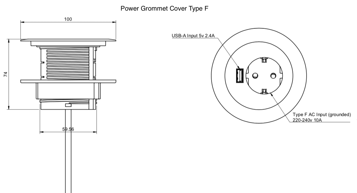 power grommet cover type F dimensions