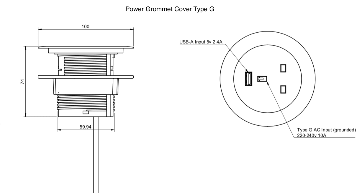 power grommet cover type G dimensions
