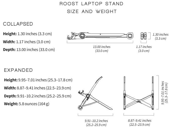 fully roost laptop stand dimensions
