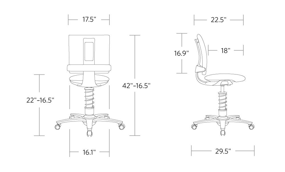 "Backrest width 17.5"" seat width 16.1"" floor to seat height 16.5"" to 22"" floor to backrest 16.5"" to 42"". Backrest length 16.9"" seat length 18"" backrest to front of seat 22.5"" and base width 29.5"""