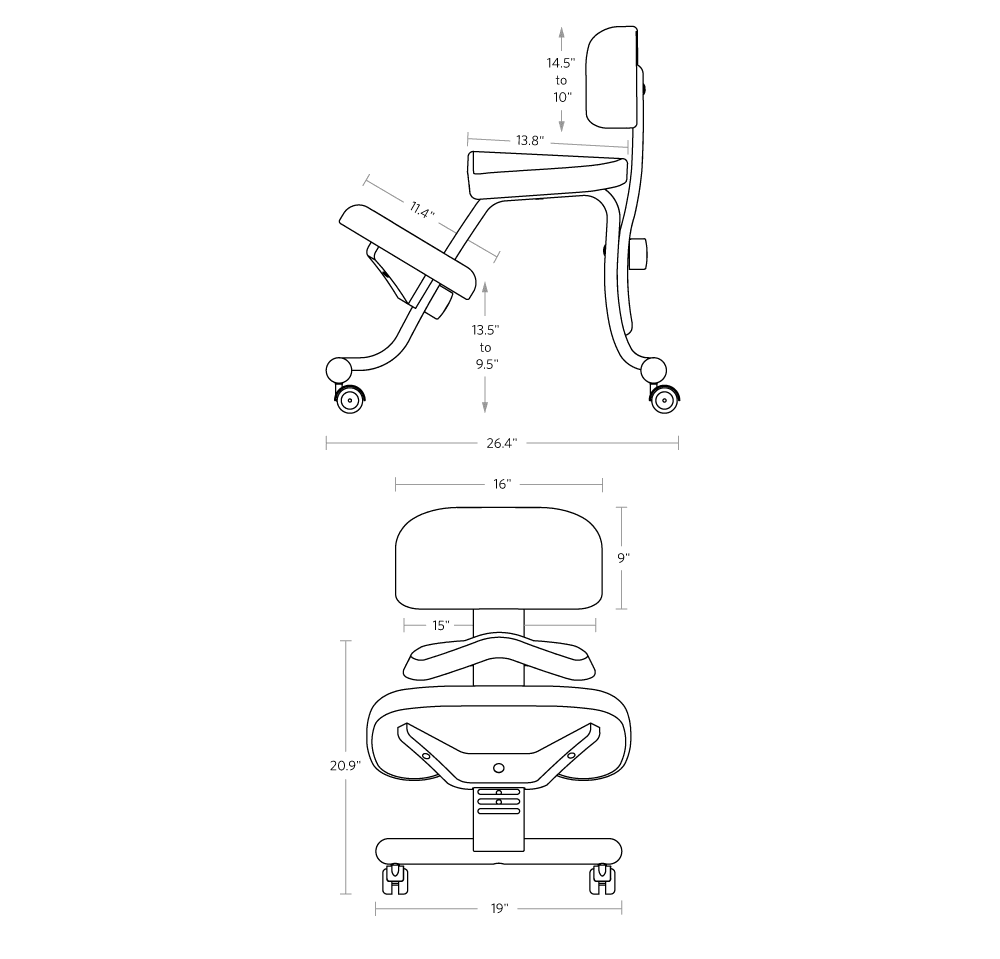 fully balans kneeling chair dimensions