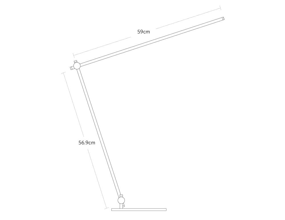 fully beam LED desk lamp dimensions