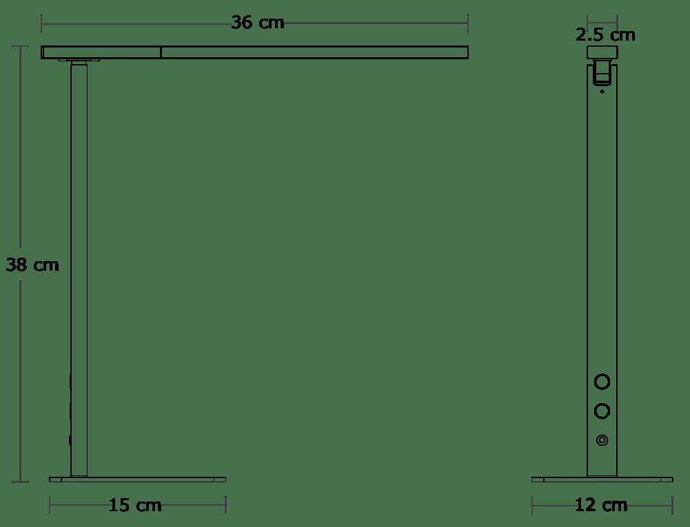 Aleris LED Desk Lamp Dimensions