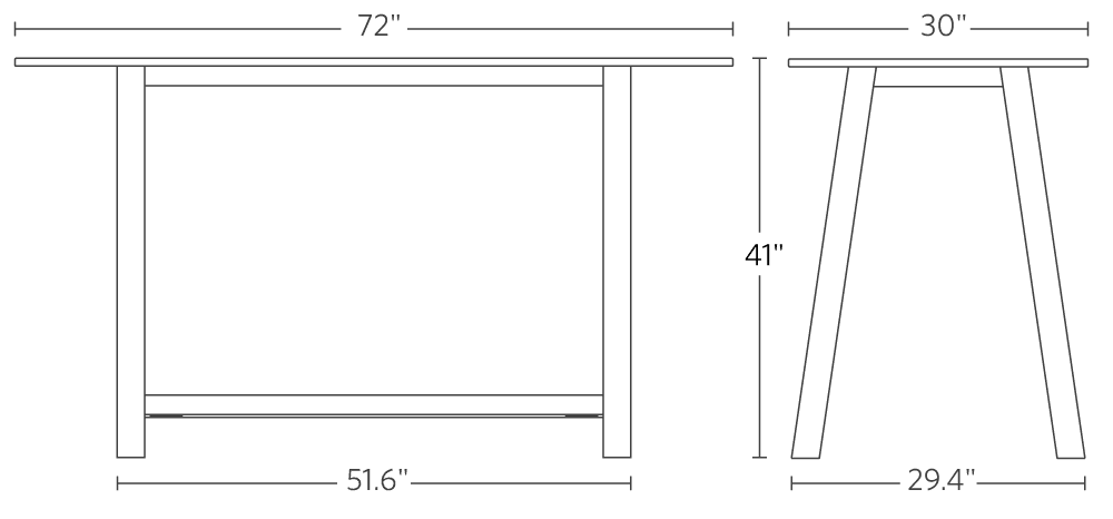 Colbe Bamboo Breakout Table Frame Dimensions