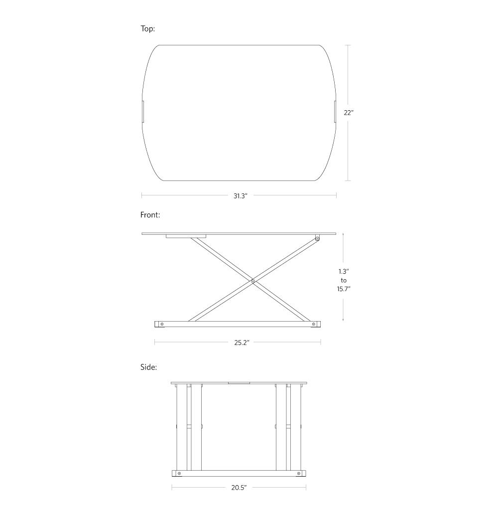 fully cora standing desk converter dimensions