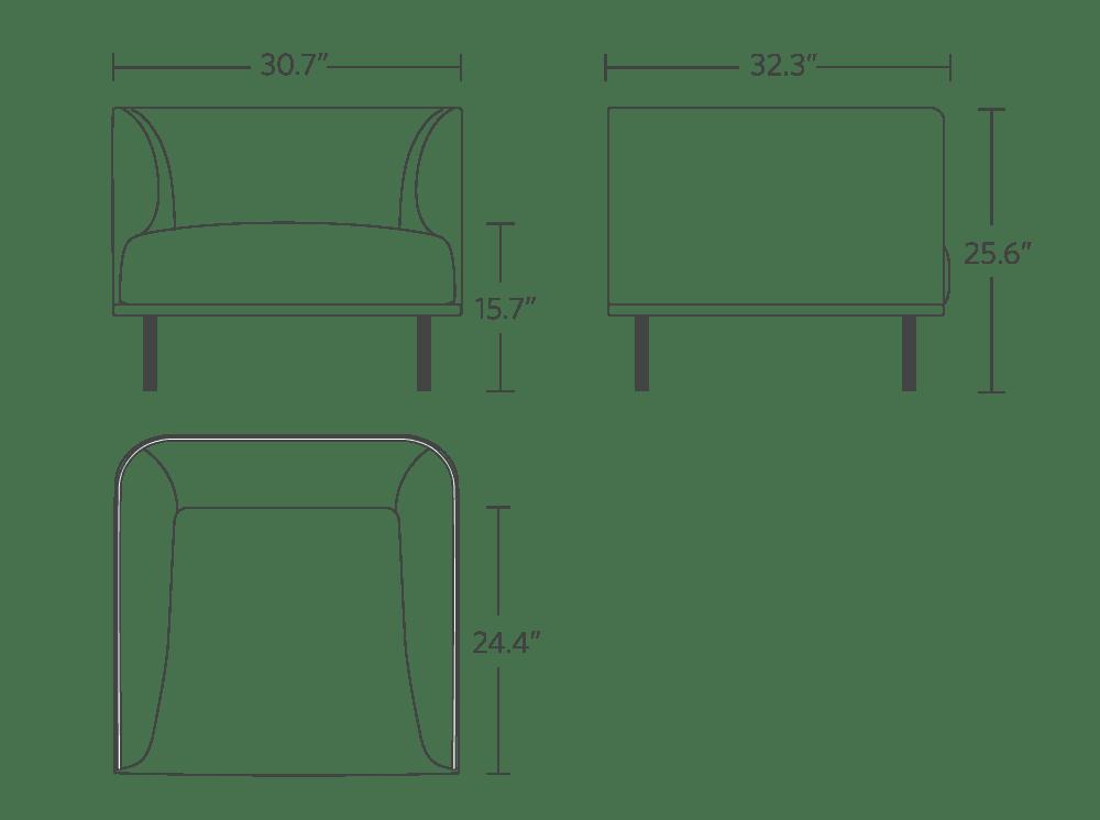"30.7"" in width, 25.6"" in height, 24.4"" in cushion depth"