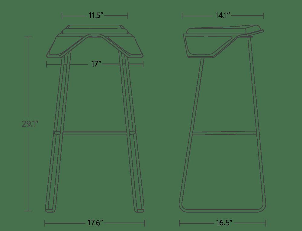 "back of saddle width: 11.5"", front of saddle width: 17"", saddle depth: 14.1"", stool height: 29.1"", base width: 17.6"", base depth: 16.5"""