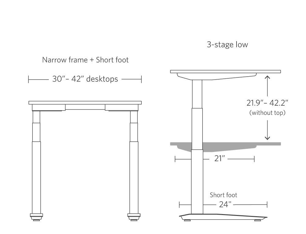 narrow frame short foot 3-stage low range frame side view