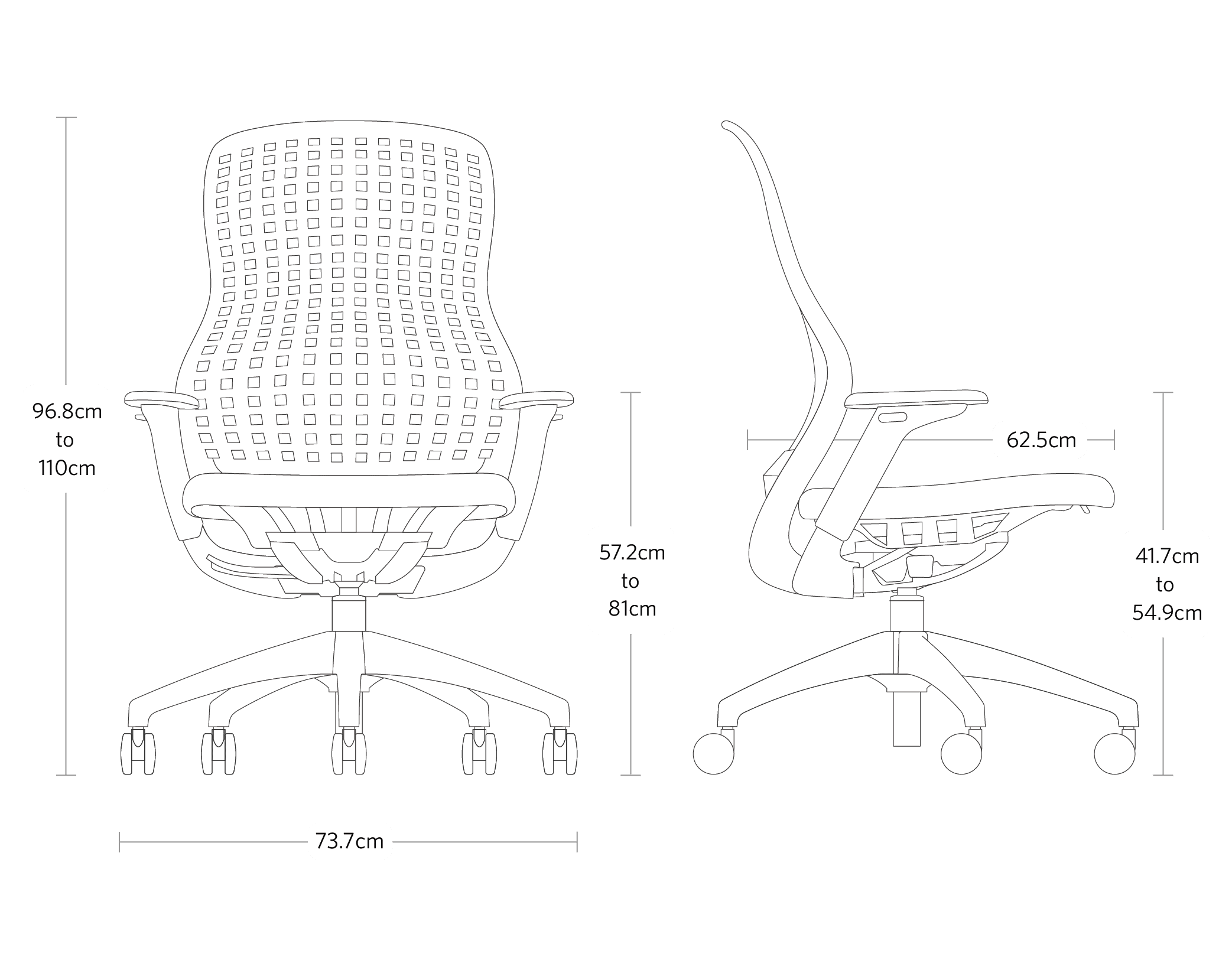 ReGeneration Chair by Knoll dimensions