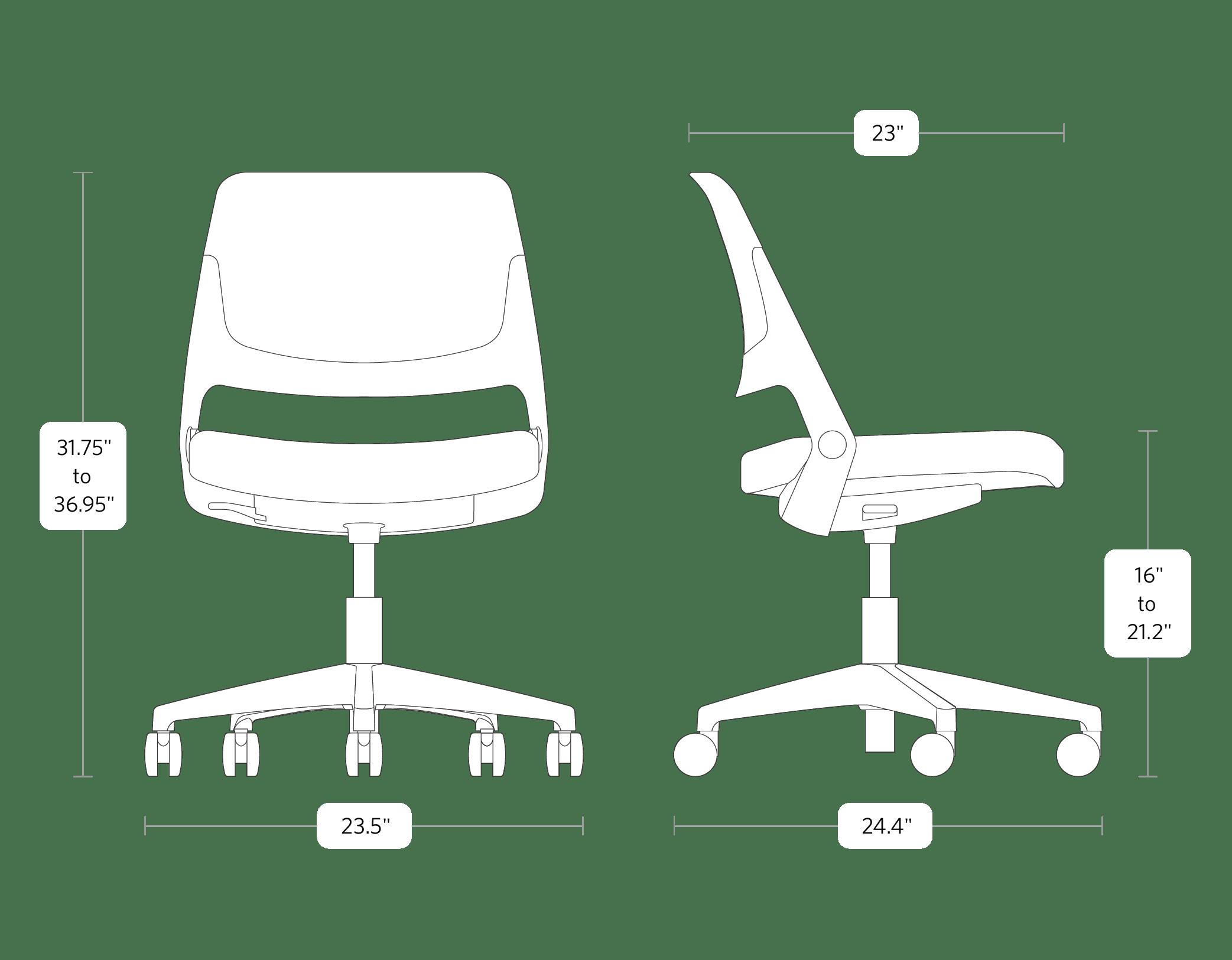 fully knoll ollo chair dimensions