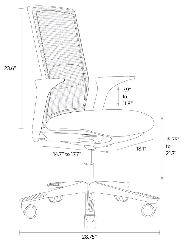 fully futu desk chair dimensions
