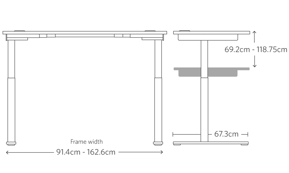 Metric dimensions of the jarvis mid range frame for bamboo adjustable standing desk