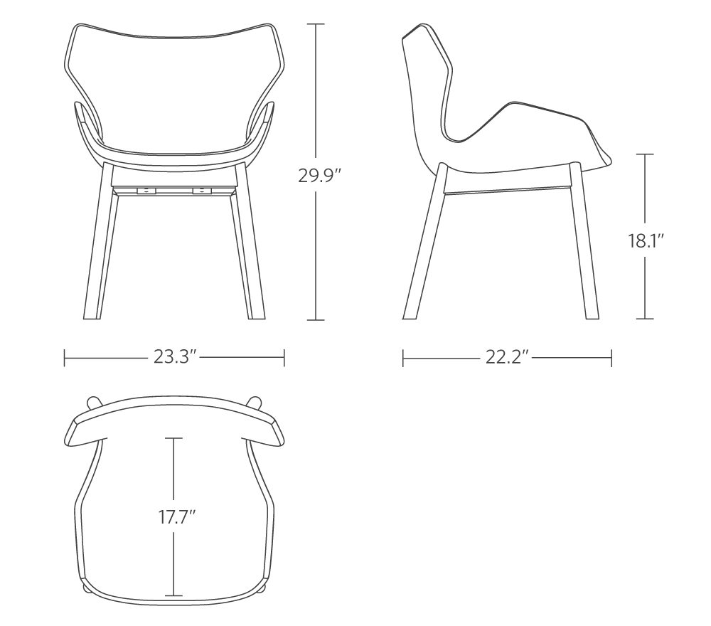 """29.9"""" height, 23.3"""" width, 22.2"""" base depth, 18.3"""" base to cushion height, 17.1"""" seat depth"""