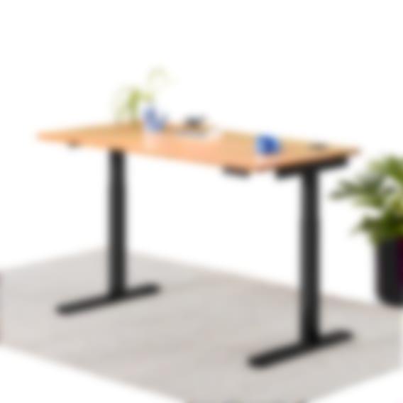 Remi standing desk natural bamboo on black frame
