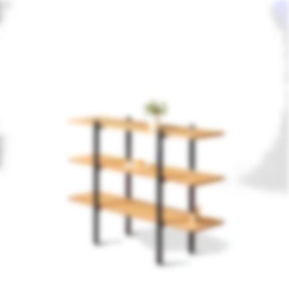 fully colbe shelving unit bamboo black frame short