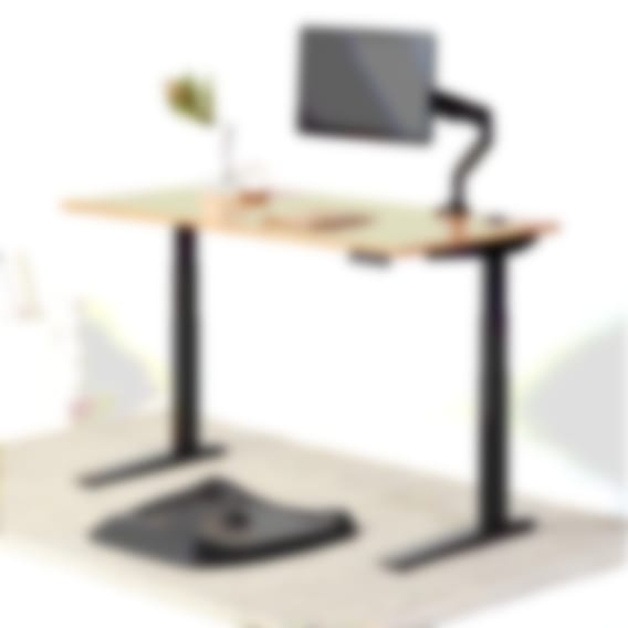 Jarvis Bamboo Standing desk with black topo mat black monitor arm black frame