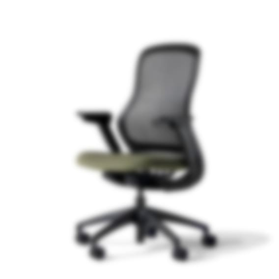 fully knoll regeneration chair onyx back olive seat