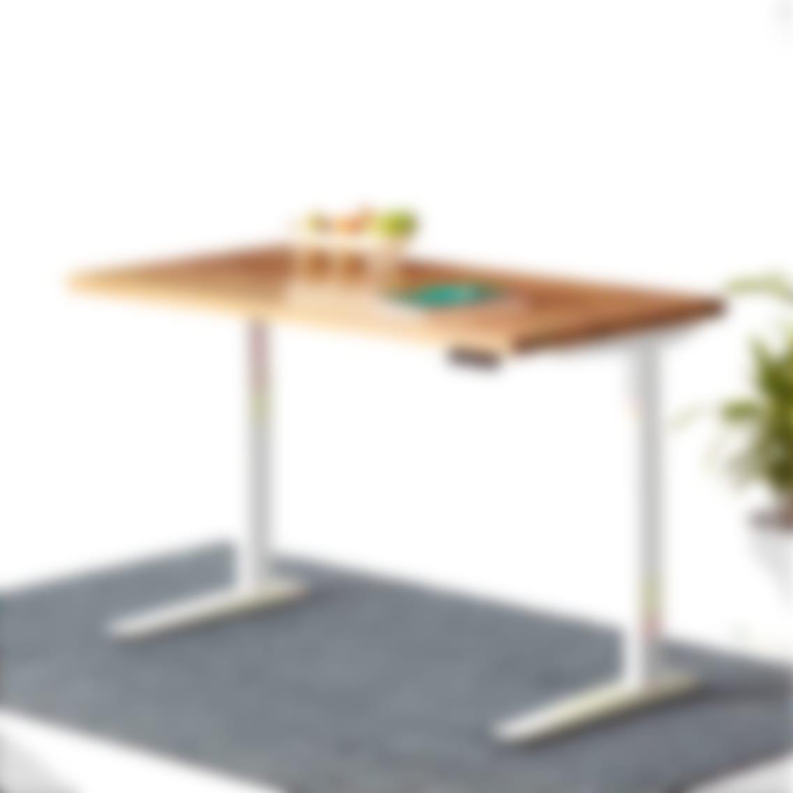 Jarvis Hardwood Standing Desk Rectangle White Oak  Desktop White frame