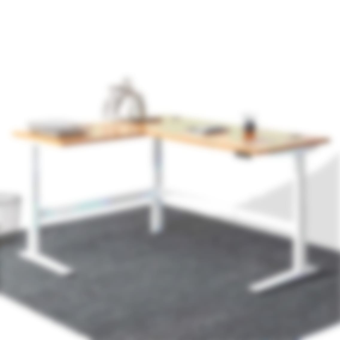 fully jarvis l shaped standing desk bamboo white frame