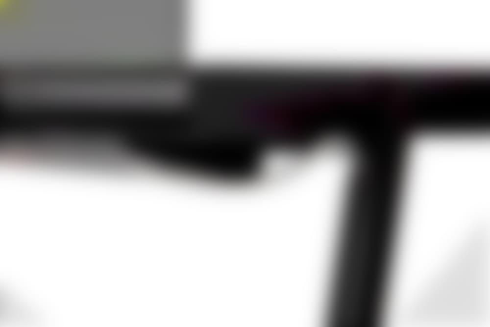 nik desk black surface black frame wire management detail image